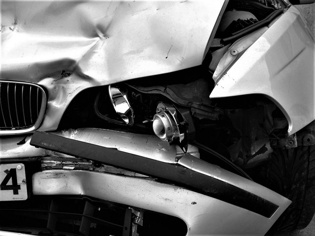 car crash in black and white