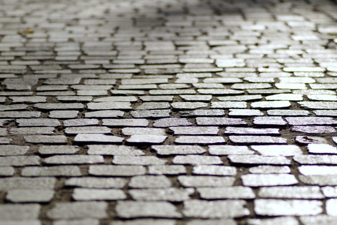 Bumpy cobblestone road